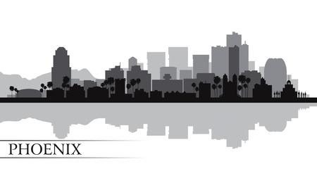 ave fenix: Phoenix ciudad horizonte silueta ilustración vectorial