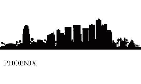 Phoenix stad skyline silhouet achtergrond Vector illustratie