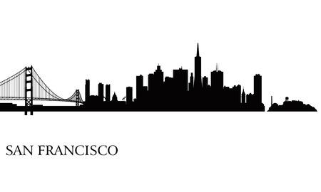 샌프란시스코: 샌프란시스코 도시의 스카이 라인 실루엣 배경 벡터 일러스트 레이 션
