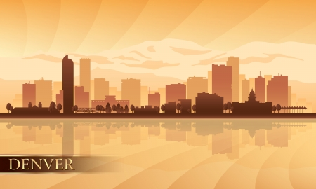 denver skyline at sunrise: Denver city skyline silhouette background  Vector illustration