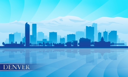 city of denver: Denver city skyline silhouette background  Vector illustration