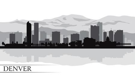Денвер: Денвер городской горизонт фоне силуэт векторные иллюстрации