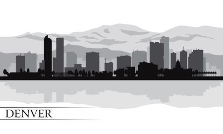 Denver skyline silhouet achtergrond Vector illustratie Stock Illustratie