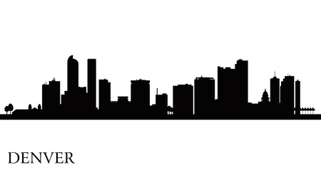 state of colorado: Denver city skyline silhouette background  Vector illustration