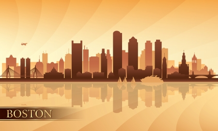 boston skyline: Boston city skyline silhouette background  Vector illustration