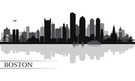 ボストン市のスカイライン シルエット背景ベクトル イラスト  イラスト・ベクター素材