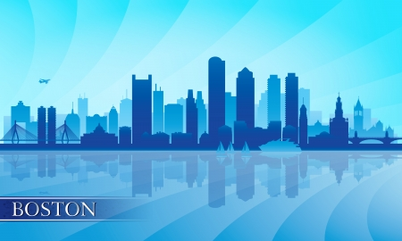 city skyline night: Boston city skyline silhouette background  Vector illustration