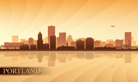 Portland city skyline silhouette background  Vector illustration Vector