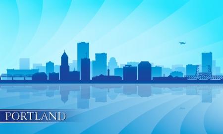 oregon coast: Portland city skyline silhouette background  Vector illustration Illustration