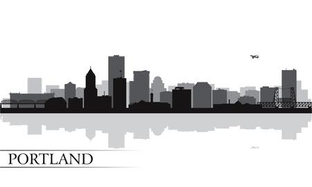 ポートランド市のスカイライン シルエット背景ベクトル イラスト  イラスト・ベクター素材