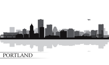 Portland city skyline silhouette background  Vector illustration Ilustração