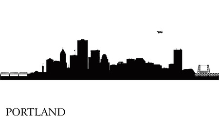 Portland city skyline silhouette background  Vector illustration Illustration