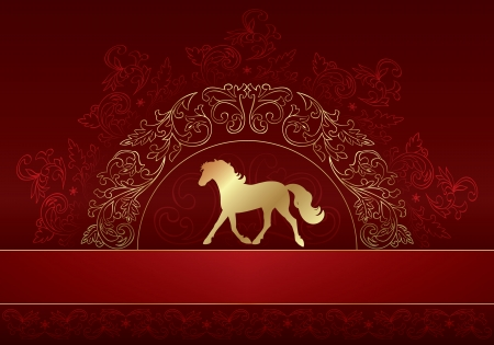 Horse silhouette on vintage floral background, vector illustration Vector