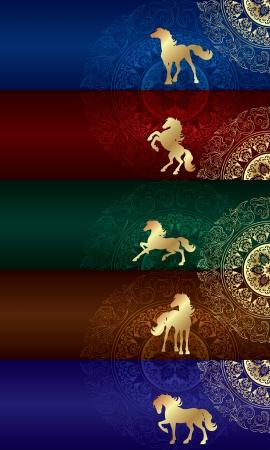 Horse silhouette on floral background, vintage set, vector illustration