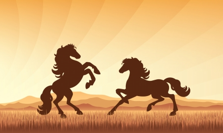 Horses in field on sunset background vector silhouette illustration  Illustration