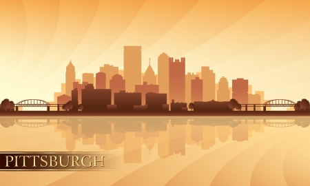 Pittsburgh city skyline silhouette background. Vector illustration  Illustration