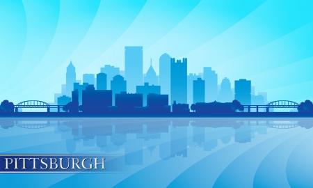 Pittsburgh city skyline silhouette background. Vector illustration   イラスト・ベクター素材