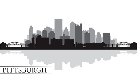 Pittsburgh Skyline Silhouette Hintergrund. Vektor-Illustration Standard-Bild - 23711812