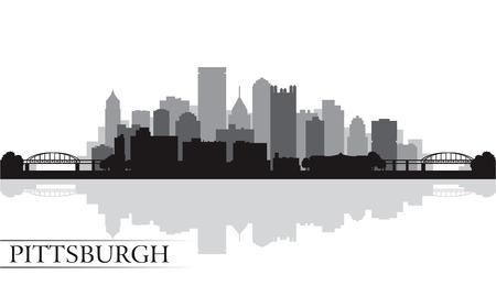 Pittsburgh stad skyline silhouet achtergrond. Vector illustratie Stockfoto - 23711812