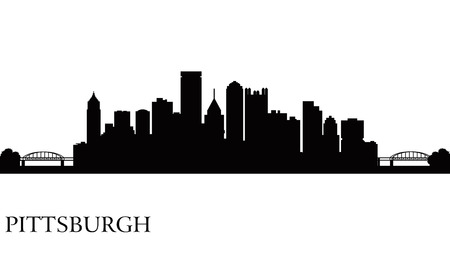 Pittsburgh Skyline Silhouette Hintergrund. Vektor-Illustration Standard-Bild - 23711811