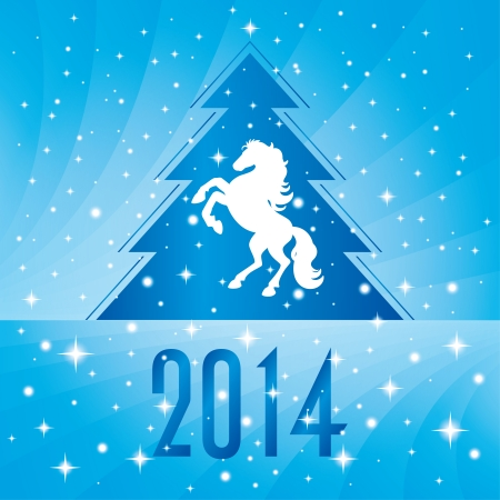 silhouette horse: Background with horse silhouette and Christmas tree, vector illustration Illustration
