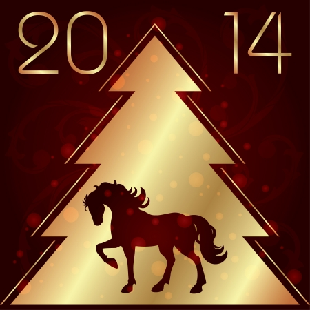 Background with horse silhouette and Christmas tree, vector illustration Vector