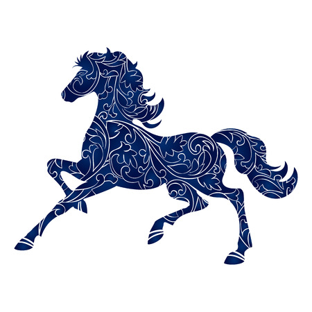 Symbol of Year 2014 blue horse, isolated icon, vector silhouette illustration