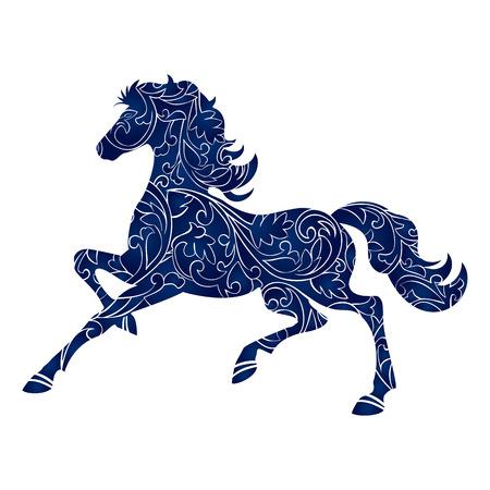Symbool van het Jaar 2014 blauw paard, geïsoleerde pictogram, vector silhouet illustratie Stock Illustratie