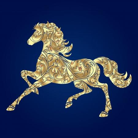 Hintergrund mit Pferd Silhouette Vektor-Illustration Standard-Bild - 24157513