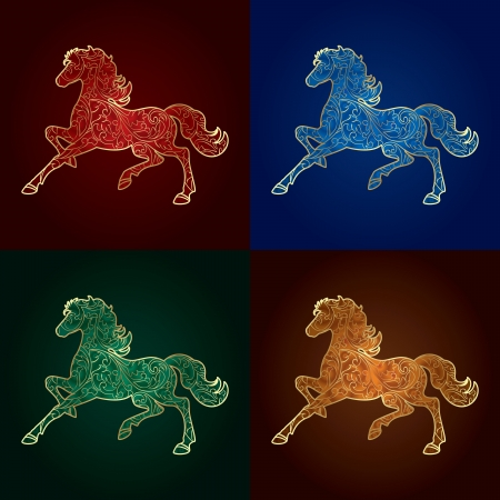 year of horse:  Set of vintage horse silhouette on colored background, vector illustration