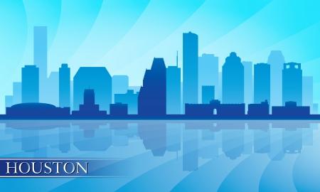 Houston stad skyline silhouet achtergrond Stock Illustratie