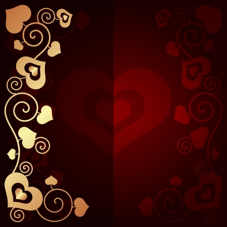 gold heart: Valentines day background with hearts vector illustration