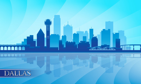 Dallas city skyline silhouette background, vector illustration  イラスト・ベクター素材