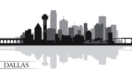 ダラス市のスカイライン シルエット背景、ベクトル イラスト  イラスト・ベクター素材