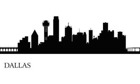 Dallas city skyline silhouette background, vector illustration Vector