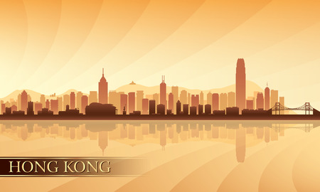 city lights: Hong Kong city skyline silhouette background, vector illustration Illustration