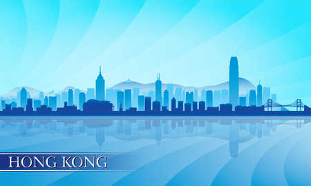 city  buildings: Hong Kong city skyline silhouette background, vector illustration Illustration