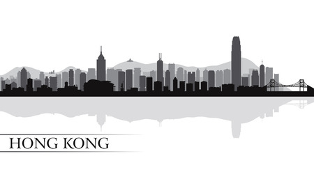 mimari ve binalar: Hong Kong şehir siluetini siluet arka plan, vector