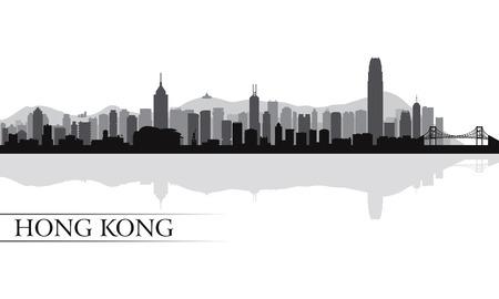 Hong Kong 都市スカイライン シルエット背景、ベクトル イラスト  イラスト・ベクター素材