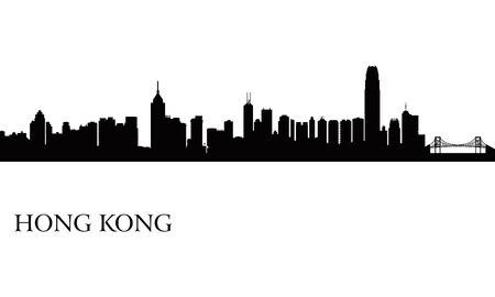 Hong Kong city skyline silhouette background, vector illustration Ilustrace