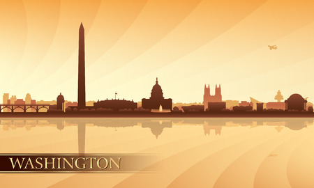 district of columbia: Washington city skyline silhouette background, vector illustration Illustration