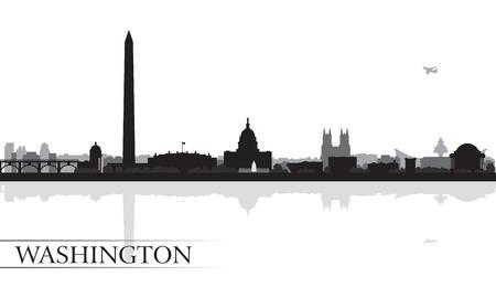 ワシントン都市スカイライン シルエット背景、ベクトル イラスト  イラスト・ベクター素材