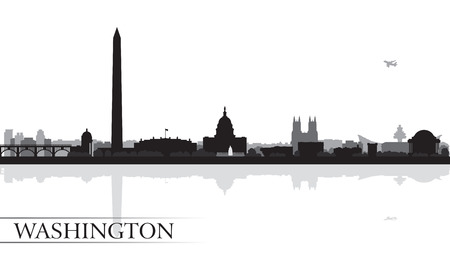 scraper: Washington city skyline silhouette background, vector illustration Illustration