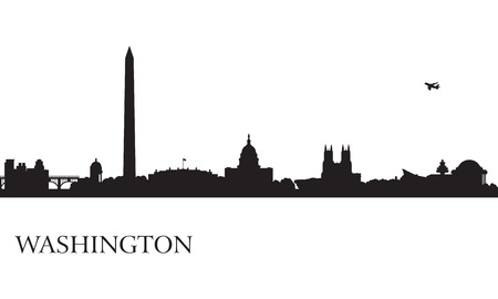 Washington city skyline silhouette background, vector illustration Ilustração