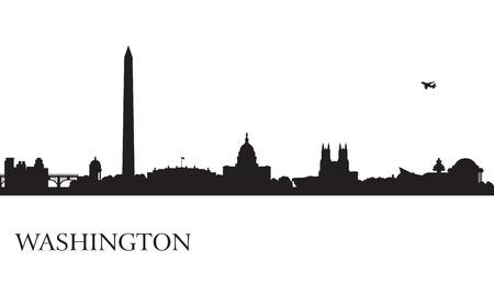 cityscape silhouette: Washington city skyline silhouette background, vector illustration Illustration