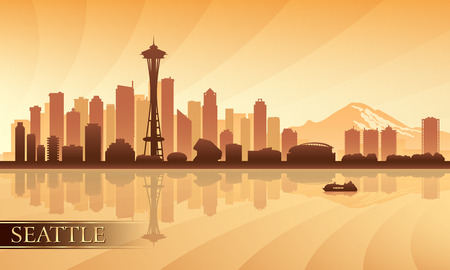Seattle city skyline silhouette background, vector illustration