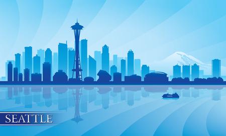 seattle: Seattle city skyline silhouette background, vector illustration