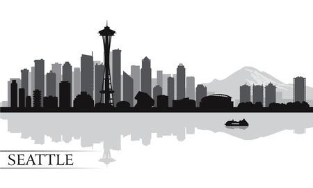 シアトル都市スカイライン シルエット背景、ベクトル イラスト
