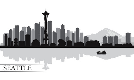 Seattle city skyline silhouette background, vector illustration Фото со стока - 26592713