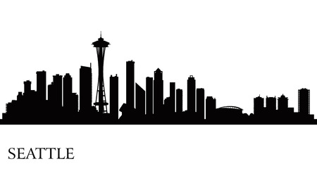 seattle: Seattle city skyline silhouette background, vector illustration